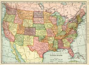 usa map with geography united states map vintage map antique map