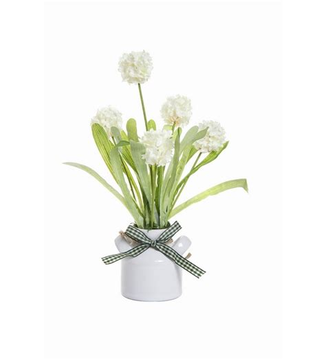 fennel flower vase with real touch white artificial