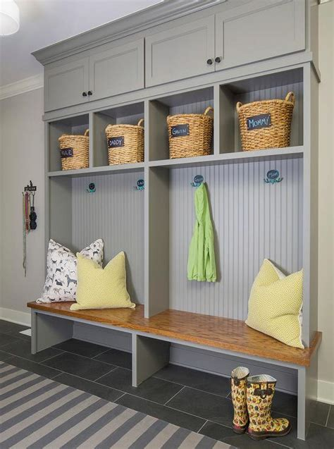 gray mudroom lockers with beadboard trim contemporary