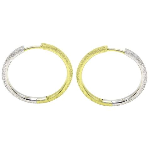 silver and gold textured medium hoop earrings for sale at