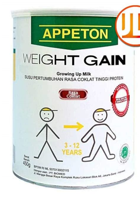 Appeton Weight Gain Kardus by Milk Powder Appeton Weight Gain For 3 12 Years Kid