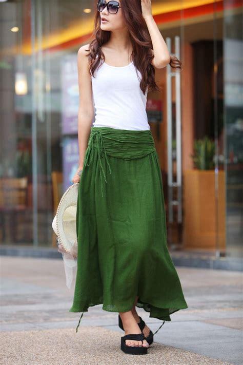summer maxi skirt linen skirt in forest green nc145