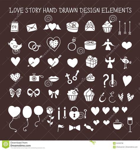 love wedding design elements vector love story hand drawn design elements doodle set vector