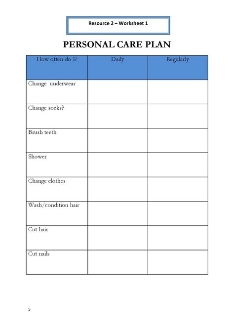 Skills Worksheets For Adults Pdf