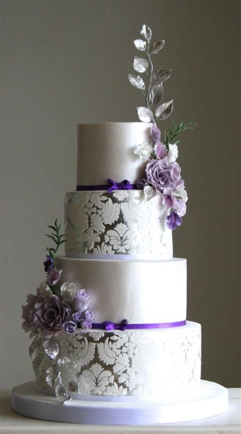 purple and silver make a glamorous combination in the 569 best images about 4 tier wedding cakes on pinterest