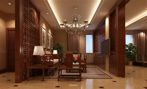 model home wooden partition living room villa new home
