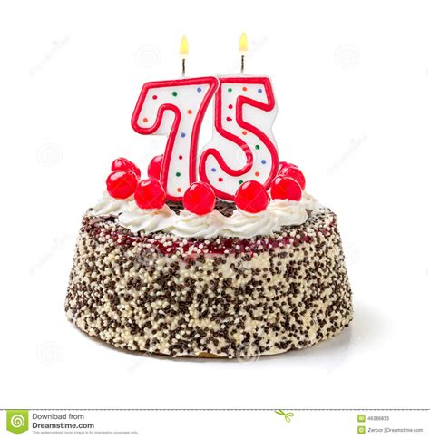 Birthday Cake With Candle Number 75 Stock Image   Image of