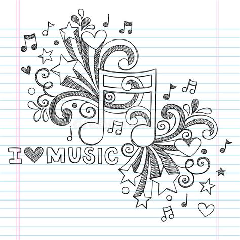doodle less pool musicas notes sketchy doodle vector illustration stock