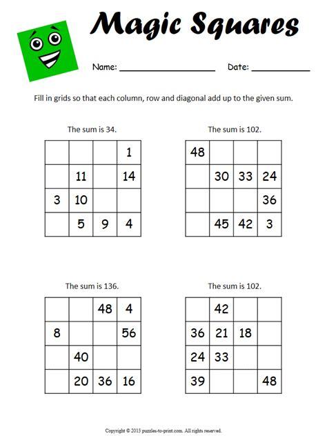 Easy Magic Squares Worksheet by Magic Square Worksheets
