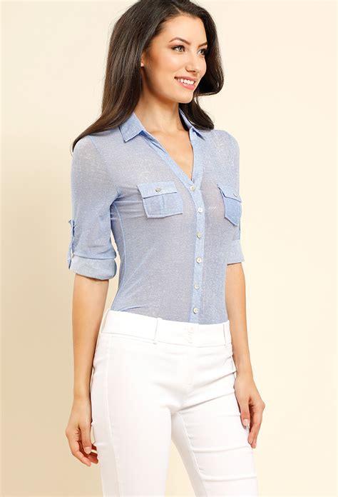 Preloved Sheer Blouse 1 semi sheer mesh pocket blouse shop blouse shirts at papaya clothing