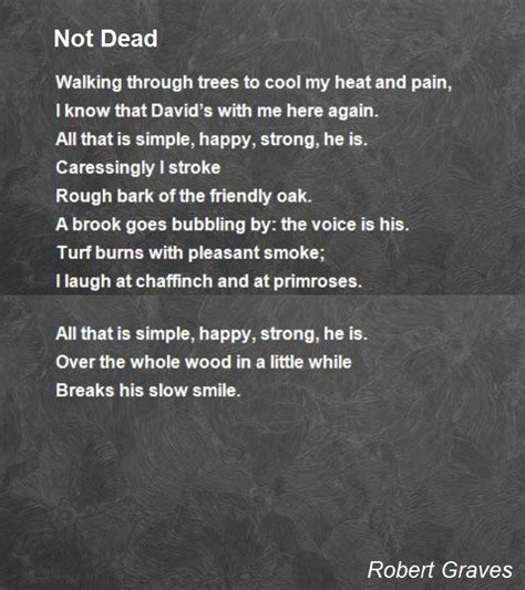not dead poem by robert graves poem hunter