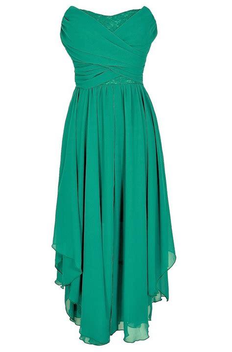 strapless chiffon and lace midi dress in jade