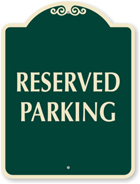 reserved parking signs template reserved parking clipart