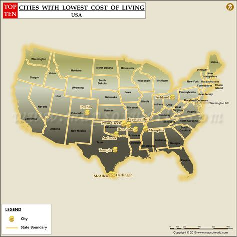 cheapest cost of living cities top 10 lowest cost of living cities in us