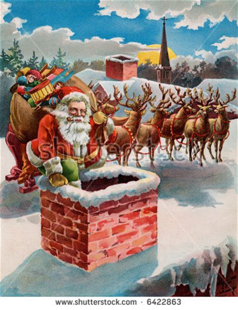 santa reindeer and sleigh on the roof top circa 1899