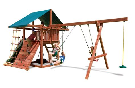 redwood swing sets wholesale three ring adventure wood swingsets with rock wall slide