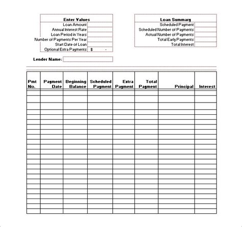 Loan Payment Schedule Template Invitation Template Loan Payment Chart Template