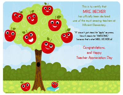 printable greeting cards on teachers day teacher appreciation certificate certificate teacher