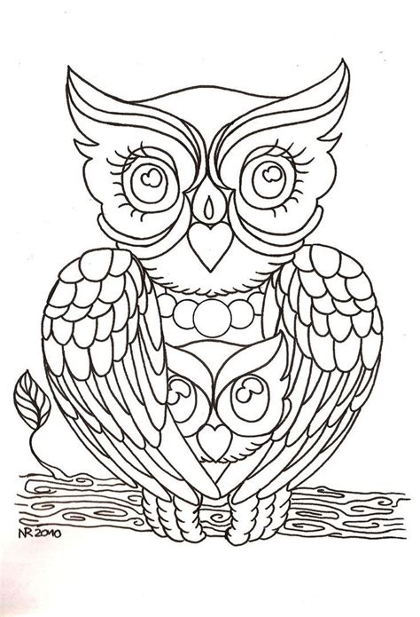 realistic owl coloring page owl embroidery pattern mama owl by mahakalicreation