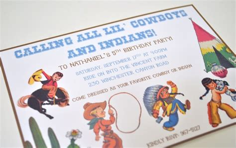 cowboy indian birthday invitations where the green grass grows designs vintage cowboy and indian birthday invitations