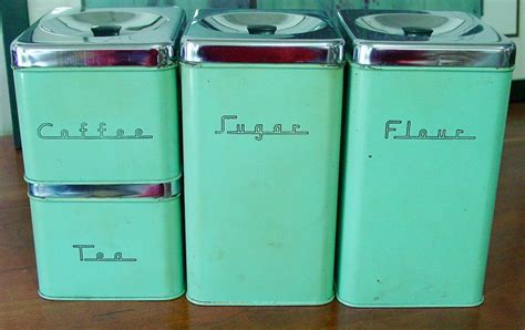 Colorful Kitchen Canisters Retro Mid Century Canister Set 4 Pieces Green With Chrome Lids