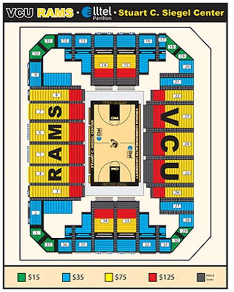 siegel center seating chart vcu athletics seating charts
