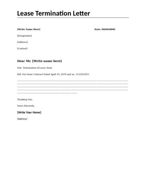 Letter Of Intent To Terminate Lease Early 84 termination of lease letter rental lease
