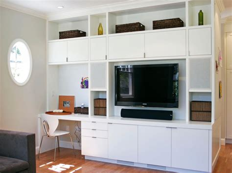 built in wall unit with desk and tv photo page hgtv