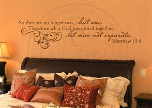Wall Decals For Bedroom Quotes no longer two but one vinyl wall statement matthew 19 6