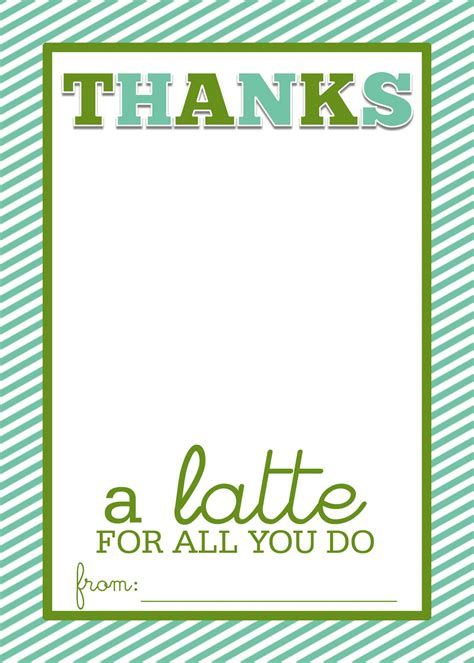 Thanks A Latte Card Template a slice of shepard s pie thanks a latte frugal thank you card