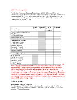 celf preschool 2 sle report celf preschool
