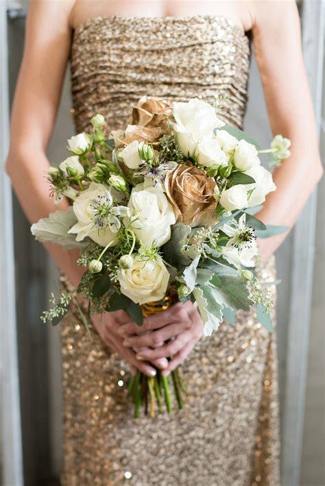 Wedding Bouquet Gold by Destination Wedding Photographer Glamorous Industrial