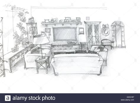 wohnzimmer zeichnung freehand sketch perspective architectural drawing of