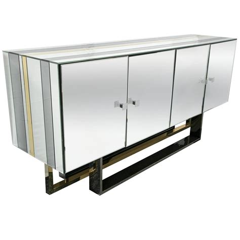 Mirrored Console Cabinet by Mid Century Modern Mirrored Console Cabinet At 1stdibs
