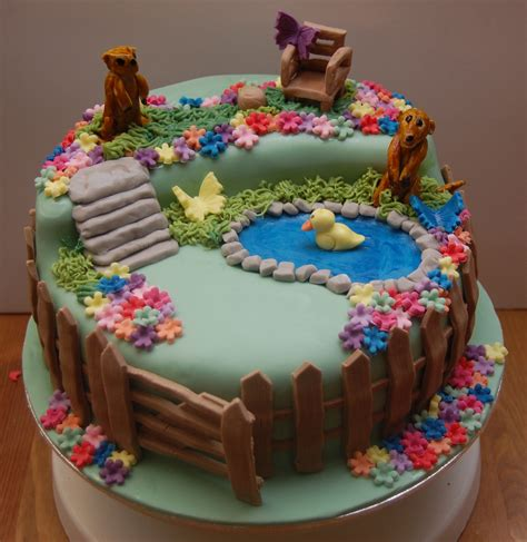 Meerkat Garden Scene Birthday Cake Hours Of Fun In The Garden Cake Ideas