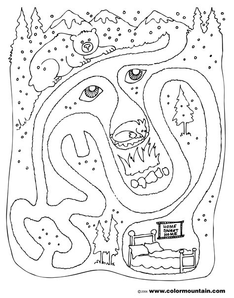 hibernation bear coloring page sketch coloring page