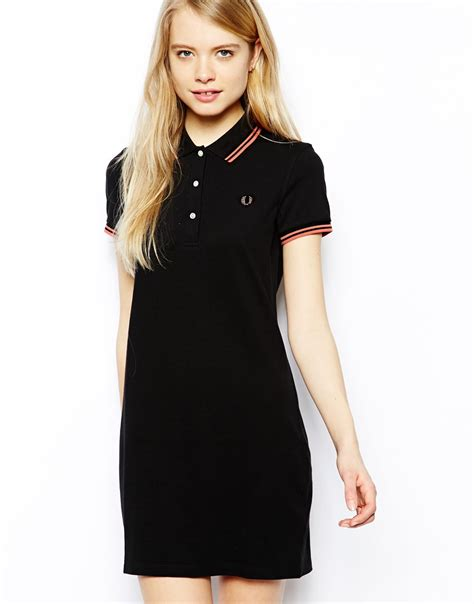 Dress Polos 2 fred perry polo dress in black lyst