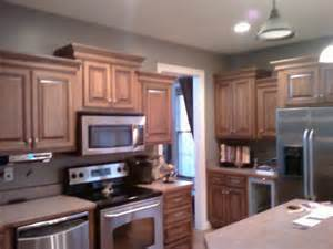 amazing grey walls in kitchen wooden style cabinets design