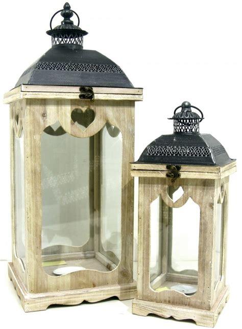 lanterne candele 2 lanterne giganti porta candele in legno metallo nero e vetro