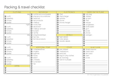 Set Excel Kid By Z Shop free printable packing and travel checklist the