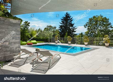 stunning house with pool and view beautiful house swimming pool view veranda stock photo