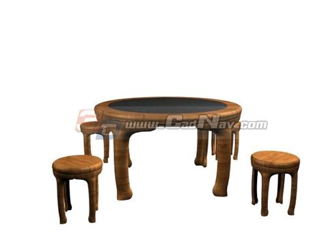 wooden dining room table and chairs 3d model 3ds max files