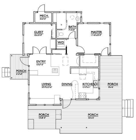 800 sq ft floor plan modern style house plan 2 beds 1 baths 800 sq ft plan 890 1