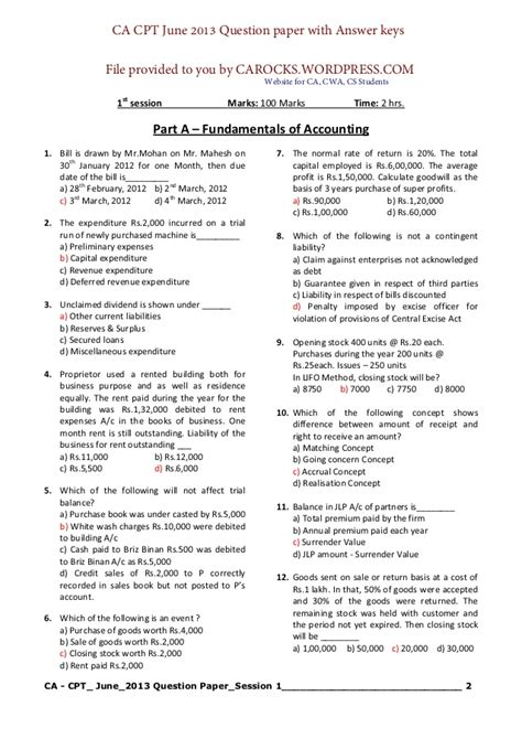 pattern for net exam 2014 cpt june 2013 question paper with solution carocks