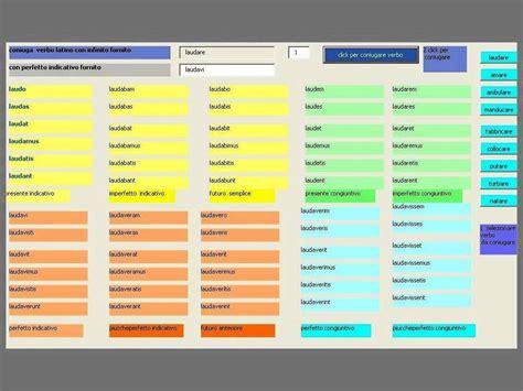 tavola verbi italiano verbi 1 2 3 4 c coniugazione automatica con visual