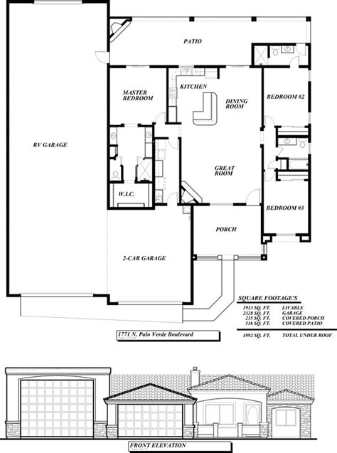 ranch house plans with rv garage house home plans ideas