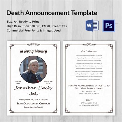 templates for funeral announcements death announcement 5 word psd format download free