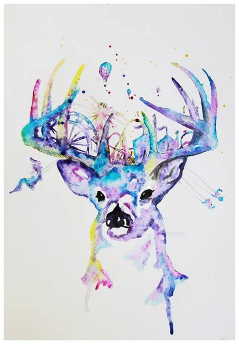watercolor tattoo deer whimsical buck deer illustration print watercolors