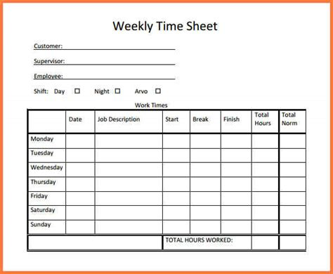 bi weekly time card template document sle simple timesheet template template business