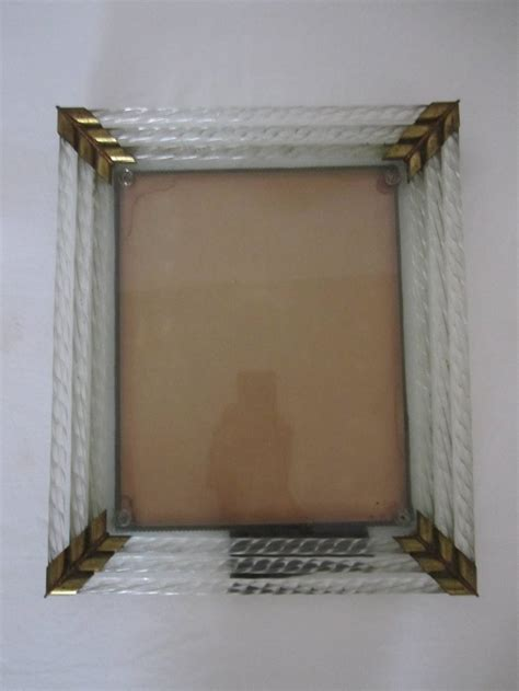 italian murano glass and brass picture frame after venini